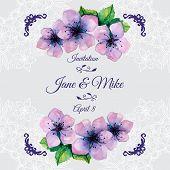 image of sakura  - Watercolor elegant wedding invitation with japanese flowers of sakura - JPG