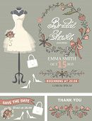 Bridal shower template set .Bridal dress,floral decor