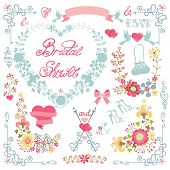 Bridal shower invitation. Floral heart wreath,headline,decor set
