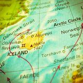 Map Of Iceland. Close-up Image
