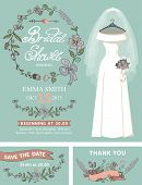 Bridal shower invitation set.Wedding dress,floral decor