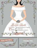 Bridal shower invitation set.Bride portrait,vintage floral decor