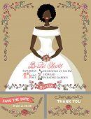 Bridal shower invitation set.Bride portrait,retro floral decor