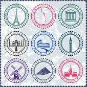 Set Of Vector Icons And Stickers. Travel And Sightseeing.