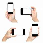 Isolated Female Hands Holding The Phone In Different Ways
