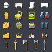 RPG Game Accessories Icons Set Scrolls Treasure Chests Potions Weapons Flat Design Template Vector I