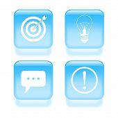 Glassy Idea Icons. Vector Illustration