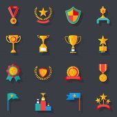Flat Design Awards Symbols and Trophy Icons Set Isolated Vector Illustration