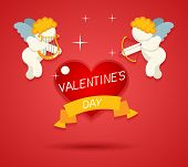 Valentines Day Greeting Card Template Angel Cherub Symbol Baby Boy with Harp Lira Bow and Arrow Aimi