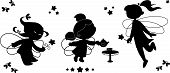 foto of tinkerbell  - Three black vector silhouettes of cute fairies flying with wands and serving tea - JPG