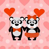 Valentine's day seamless background with pandas