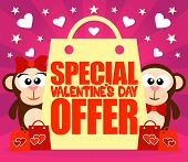 Special Offer Valentine's day card with monkeys