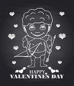 Vector hand draw Cupid on black chalkboard