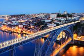 Постер, плакат: evening Porto Old City Douro River and Dom Luis Bridge