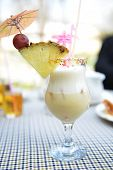 picture of pina-colada  - alcoholic cocktail pina colada in glass with pineapple - JPG