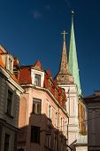 Tower Of The Church Building In Riga, Latvia