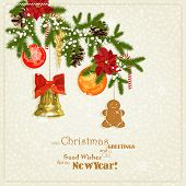 stock photo of cone  - Christmas card with christmas tree - JPG