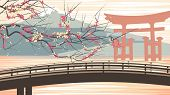 Vector Illustration Of Cherry Blossoms Against Background Of Mountains.