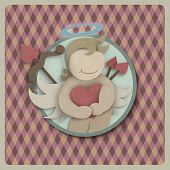 Cupid Hug Red Love Heart On Retro Background, Recycled Paper Craft