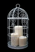 Candlestick cage style, candles, Valentine's Day decor.