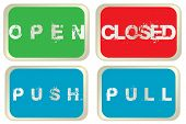 Open, Closed, Pull And Push Colored Signs Isolated Over White Background