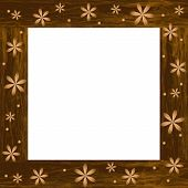 Wooden Photo Frame With Carved Flowers