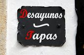 Spanish breakfast and tapas sign.