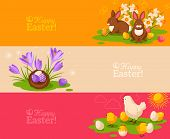 Vintage Happy Easter Banners Set. Vector Illustration.