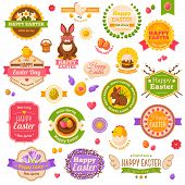 Easter scrapbook set. Labels, ribbons and other elements.
