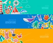 pic of yachts  - Summer Banners with marine symbols - JPG