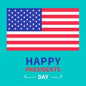 American flag Presidents Day background flat design Card