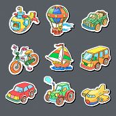 Cartoon collection of Transportation - Colored stickers