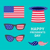 Glasses mustaches hat flag set. Presidents Day background flat design