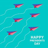 Six paper planes. Dash line  Presidents Day background