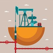 Vector Concept Of Oil Well