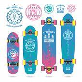 Set Of Outline Emblems On Longboard