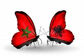 Two Butterflies With Flags On Wings As Symbol Of Relations Morocco And Albania