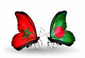 Two Butterflies With Flags On Wings As Symbol Of Relations Morocco And Bangladesh