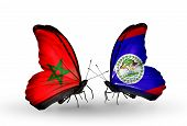 Two Butterflies With Flags On Wings As Symbol Of Relations Morocco And Belize