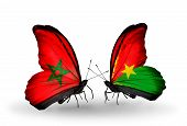 Two Butterflies With Flags On Wings As Symbol Of Relations Morocco And Burkina Faso
