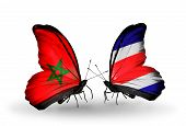 Two Butterflies With Flags On Wings As Symbol Of Relations Morocco And Costa Rica
