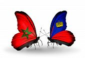 Two Butterflies With Flags On Wings As Symbol Of Relations Morocco And Liechtenstein