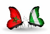 image of nigeria  - Two butterflies with flags on wings as symbol of relations Morocco and Nigeria - JPG