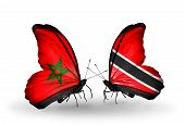 Two Butterflies With Flags On Wings As Symbol Of Relations Morocco And Trinidad And Tobago