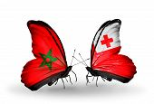 Two Butterflies With Flags On Wings As Symbol Of Relations Morocco And Tonga