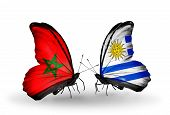 Two Butterflies With Flags On Wings As Symbol Of Relations Morocco And Uruguay