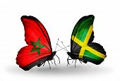 Two Butterflies With Flags On Wings As Symbol Of Relations Morocco And Jamaica
