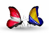 Two Butterflies With Flags On Wings As Symbol Of Relations Latvia And Bosnia And Herzegovina