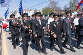 Pilots from airline Utair go on parade