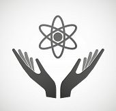 Two Hands Offering An Atom